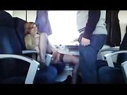 Mature wife performs oral sex in train